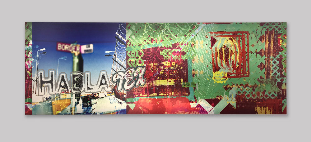 "Corinne Whittemore, "" Habla Tex ,"" Sublimation Print on Aluminum, (48"" x 17"") and (24"" x 8.5""), 2015"