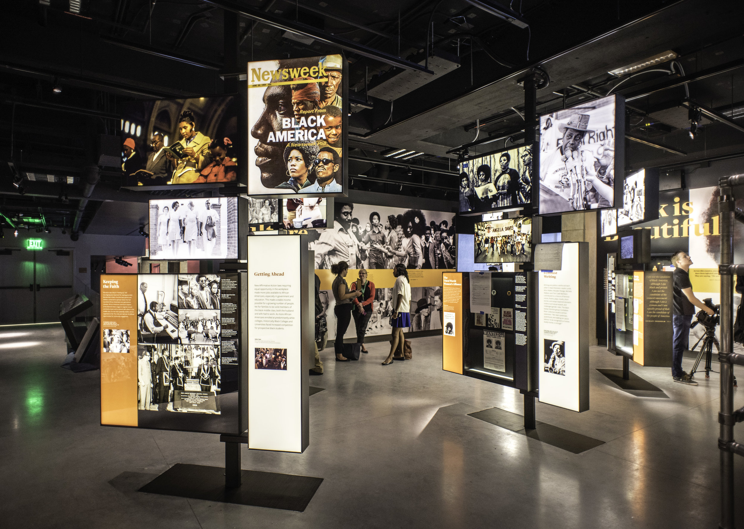 "BEYOND 1968 MEDIA PICKETS. A centralized media ""pendant"" and audio program, coordinated with individual ""picket"" media, captures the spirit and energy of the pivotal events of 1968 using a compilation of archival footage.   Photo credit:  André Chung for Curbed"