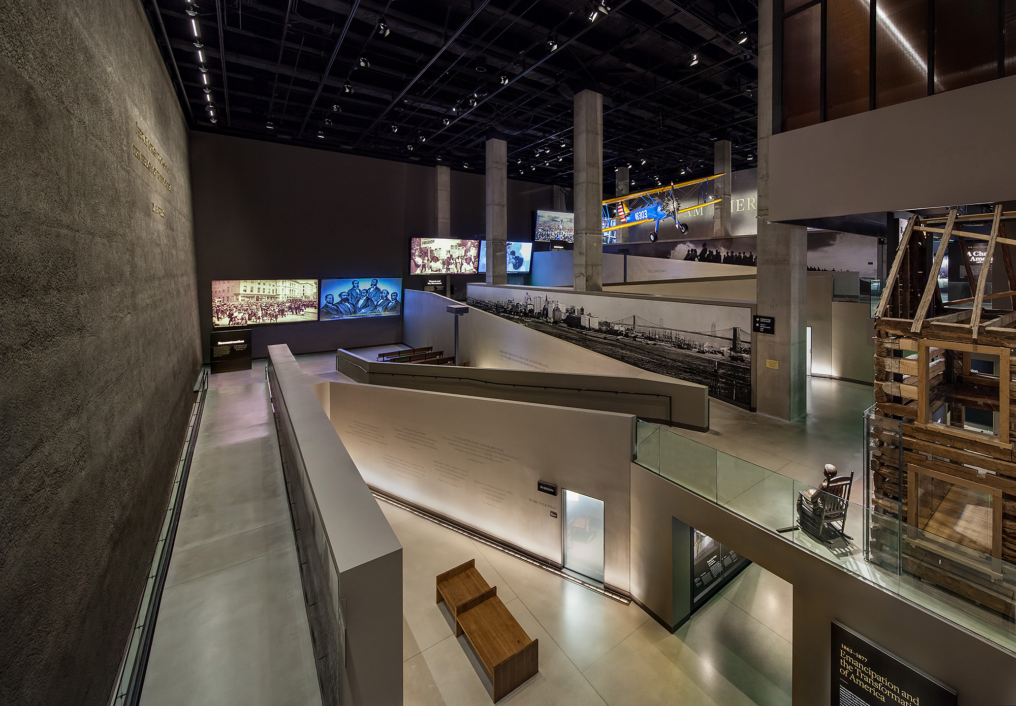 JOURNEY TO FREEDOM. Ramps   zigzag and rise through the History galleries.  Photo credit: Ron Blunt
