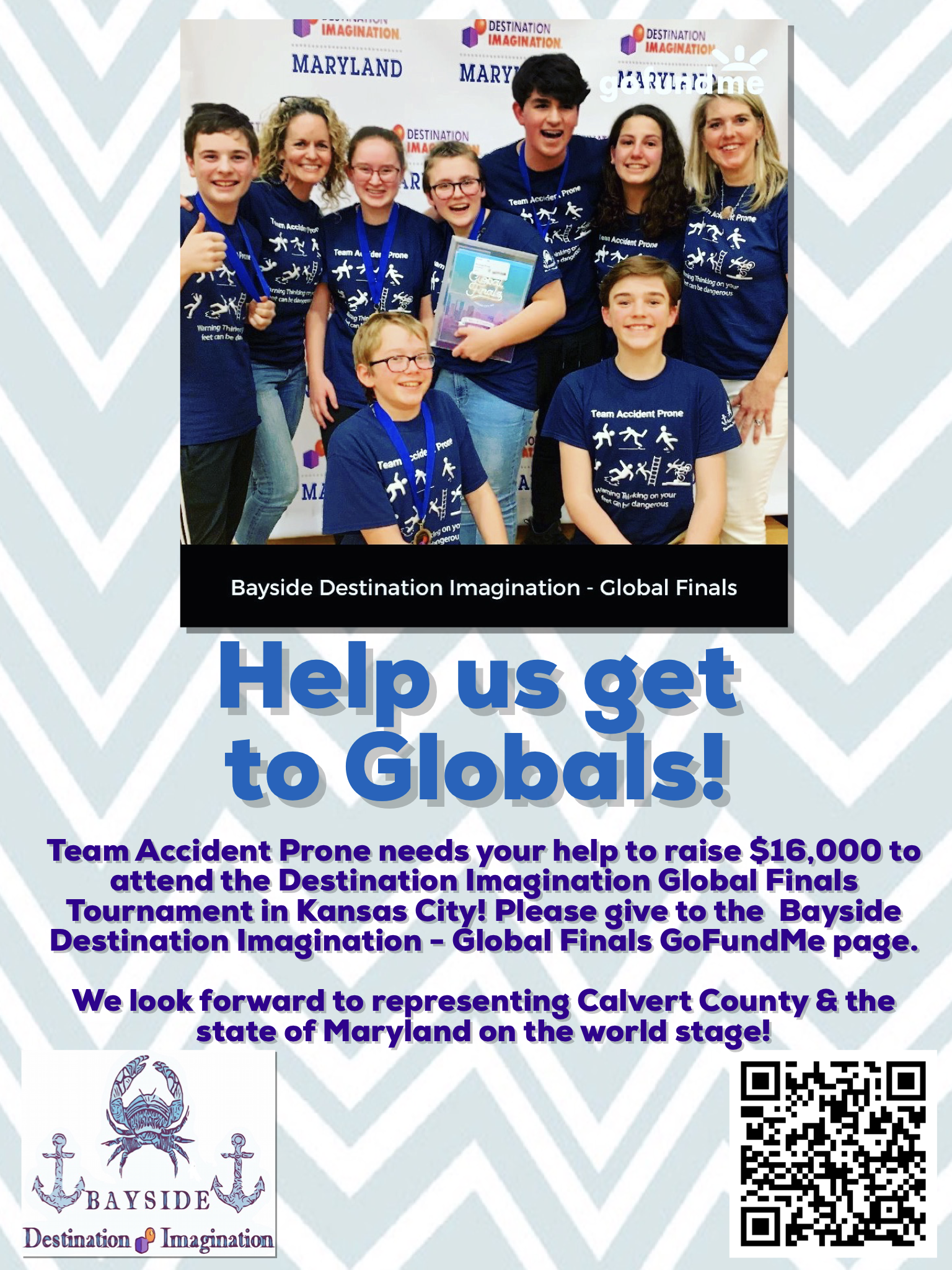Help these talented kids represent Calvert County on a Global Stage! - 100% proceeds of sales will be donated to Team Accident Prone to achieve IMPROV SUCCESS!Find out more about about BAYSIDE DESTINATION IMAGINATIONAll orders will be shipped via USPS Priority Mail.