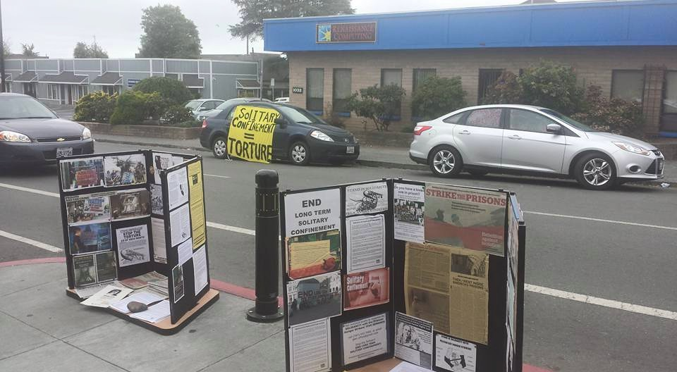"Arcata, CA:  Advocates in Arcata report that there was a large TV showing NRCAT ""Breaking Down the Box"" and later, audio about solitary and about Hugo ""Yogi"" Pinell. Yogi Presente!"