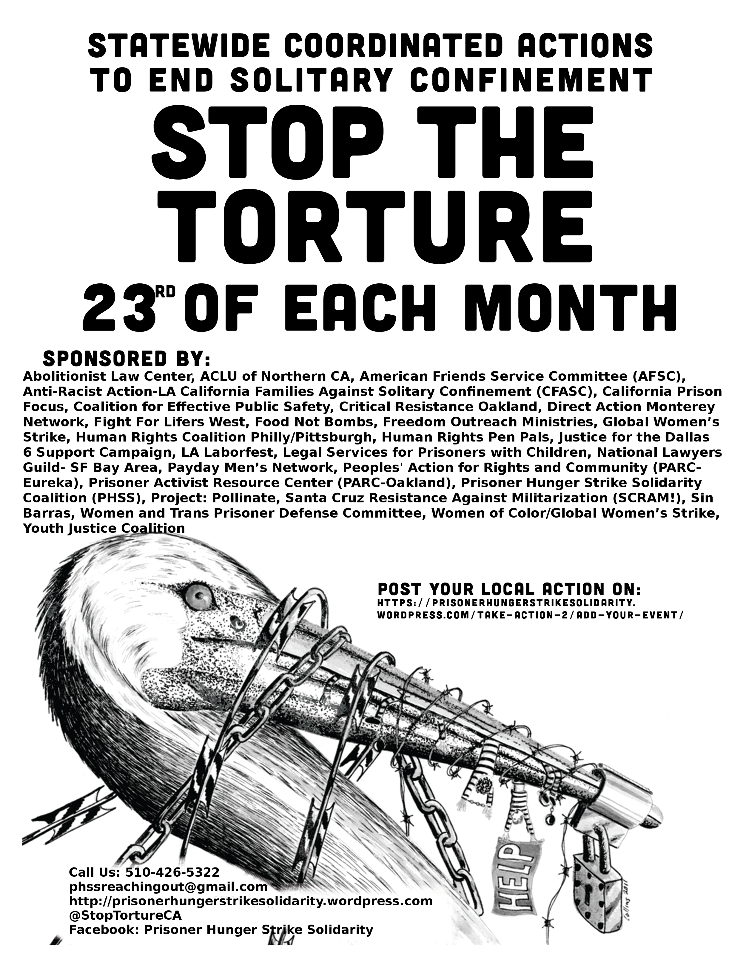 Initial campaign flyer by Prisoner Hunger Strike Solidarity Coalition.