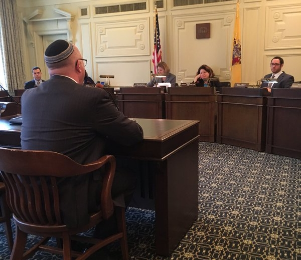 Rabbi David Levy speaks at hearing on bill in New Jersey.  Photo credit: Alexander Shaolm, ACLU of New Jersey
