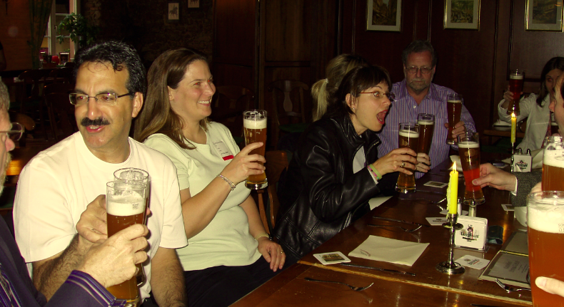 Beer Hall in Frankfurt - we sat at a long table and drank