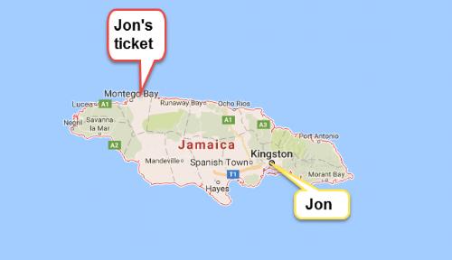 My ticket was across the island of Jamaica