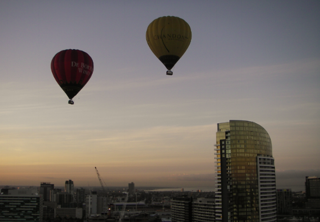 We ballooned right over the city center of Melbourne