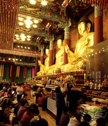 Three Golden Buddhas at the palace