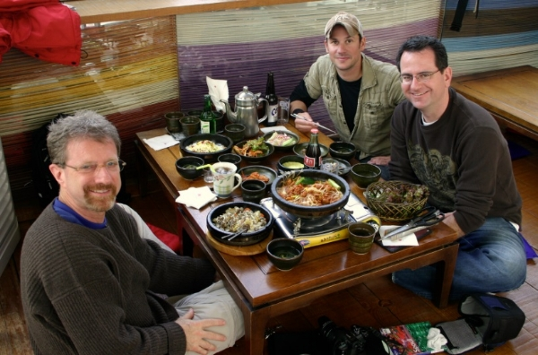 Jon, Peter and Andy eating lunch at Seoul restaurant
