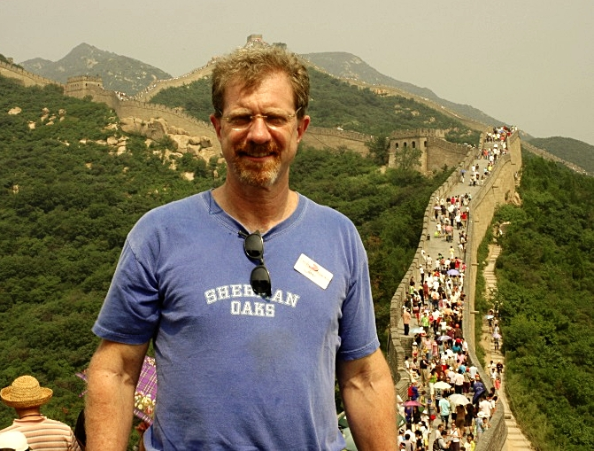 Posing at the Great Wall and the crowds