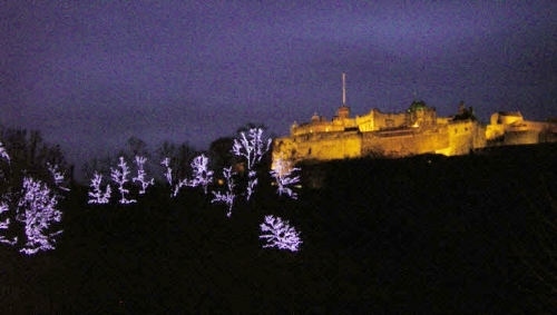 Edinburgh Castle with holiday lights