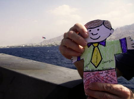 Flat Stanley appears in the Gulf of Aqaba