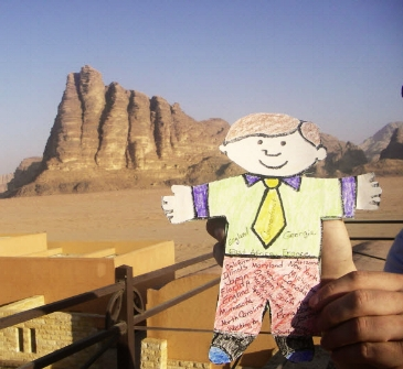 Flat Stanley in the Wadi Rum and the 7 Pillars of Wisdom