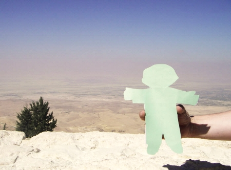 Flat Stanley looks out over the Promised Land