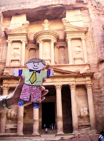 Flat Stanley at the ruins of Petra