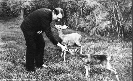 Hitler feeding fawns