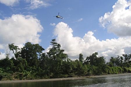Our chopper flew off