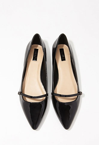 Faux Patent Pointed Toe Flats - Forever 21 (Purchased)