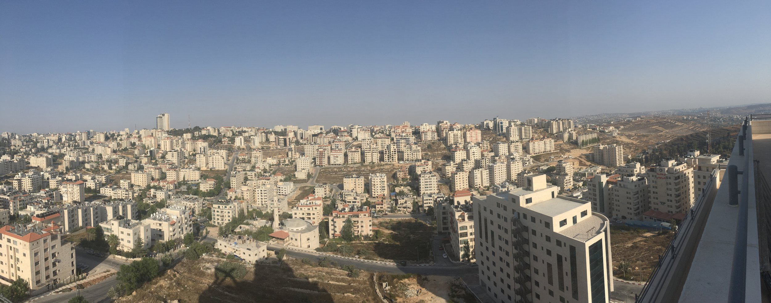 Panorama of Ramallah from one of its tallest buildings. Access granted simply by asking the security guard at the entrance, who happily agreed and escorted us to the roof top for 5 minutes. No bakshish. This is Ramallah.