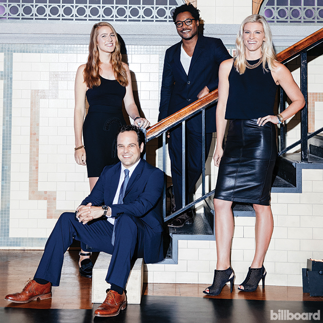 Eric Ryan Anderson  Brian Siedlecki, Chloe Gordon, Lindsay Shookus and Theo Spielberg of Saturday Night Live photographed at NBC's Studio 8H in New York City on Sept. 1, 2015.