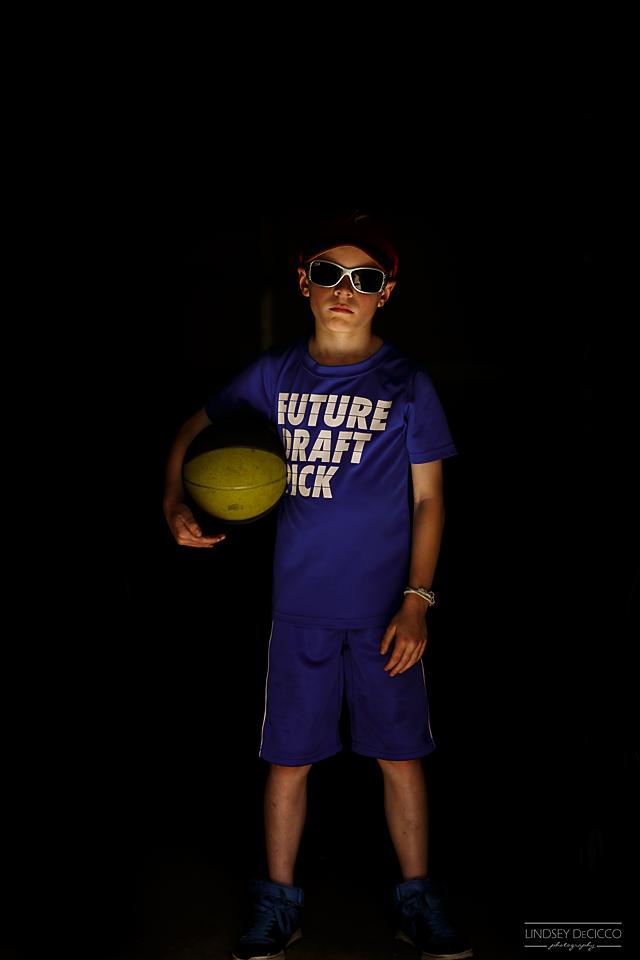 Garage light basketball card shoot.