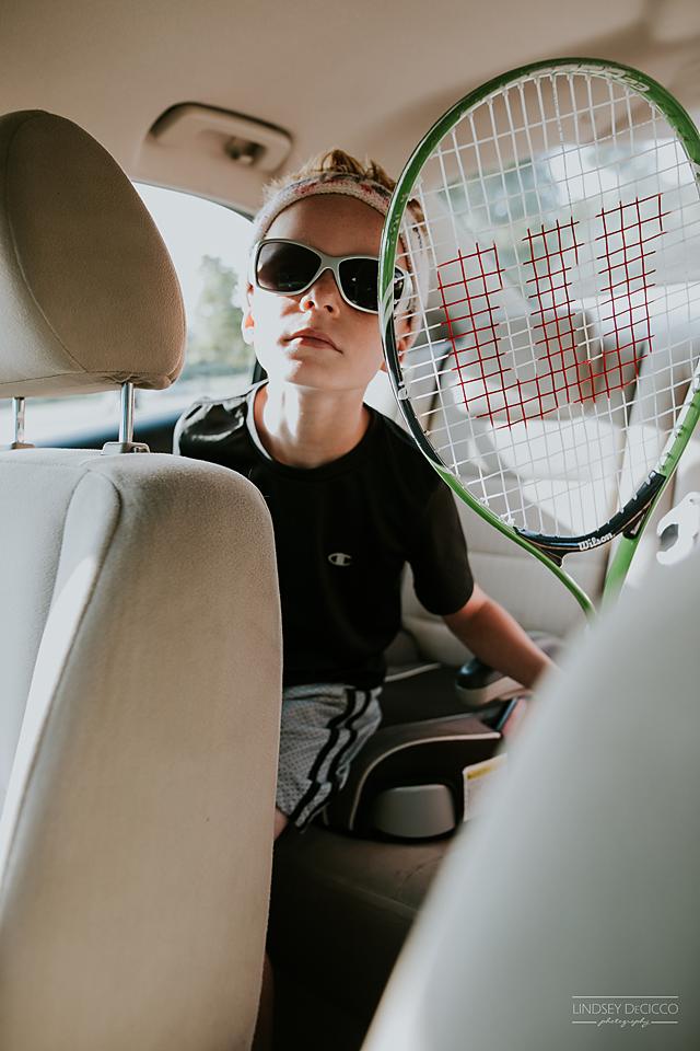 Tennis Camp drop off. Sweet headband, kid.