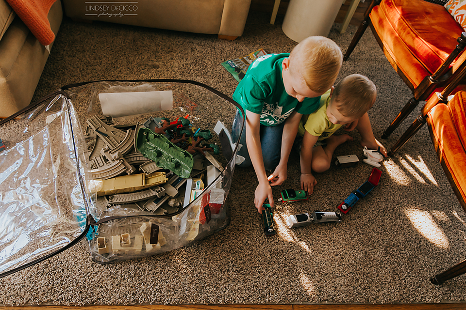 brothers playing trains