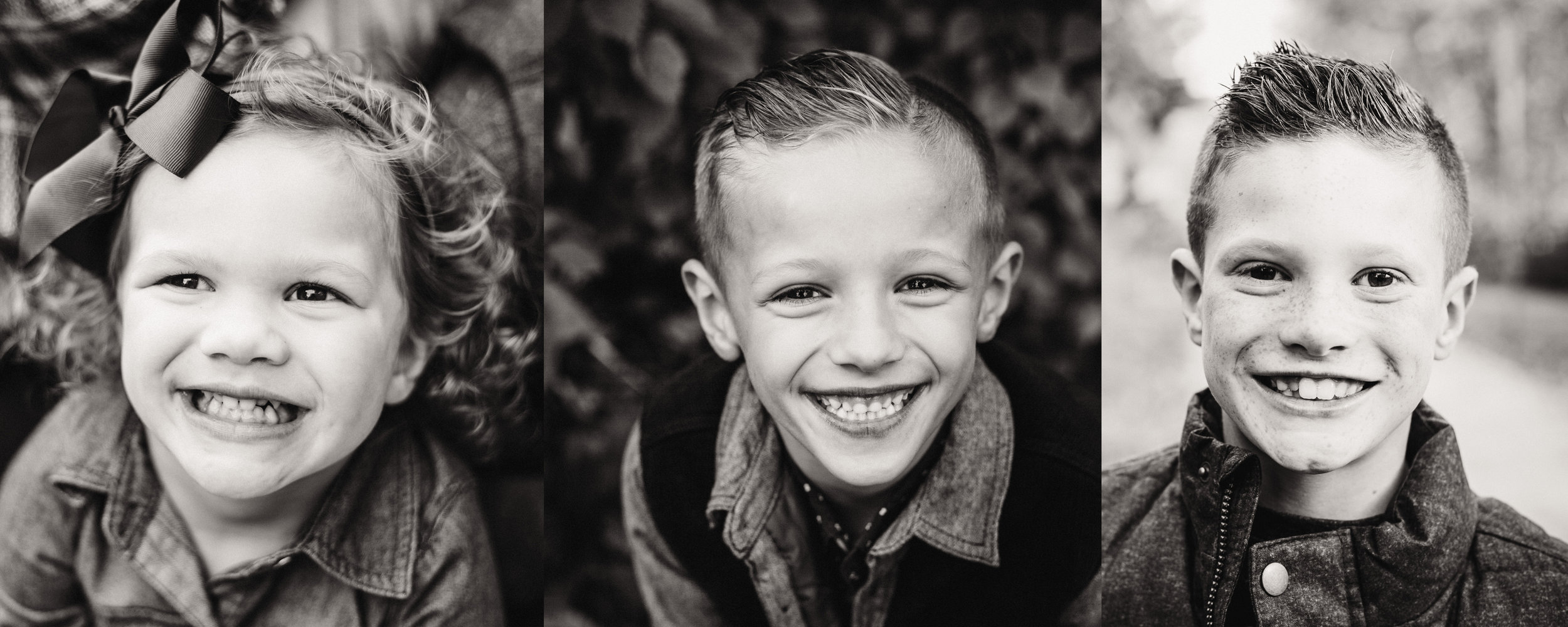 black and white children portraits