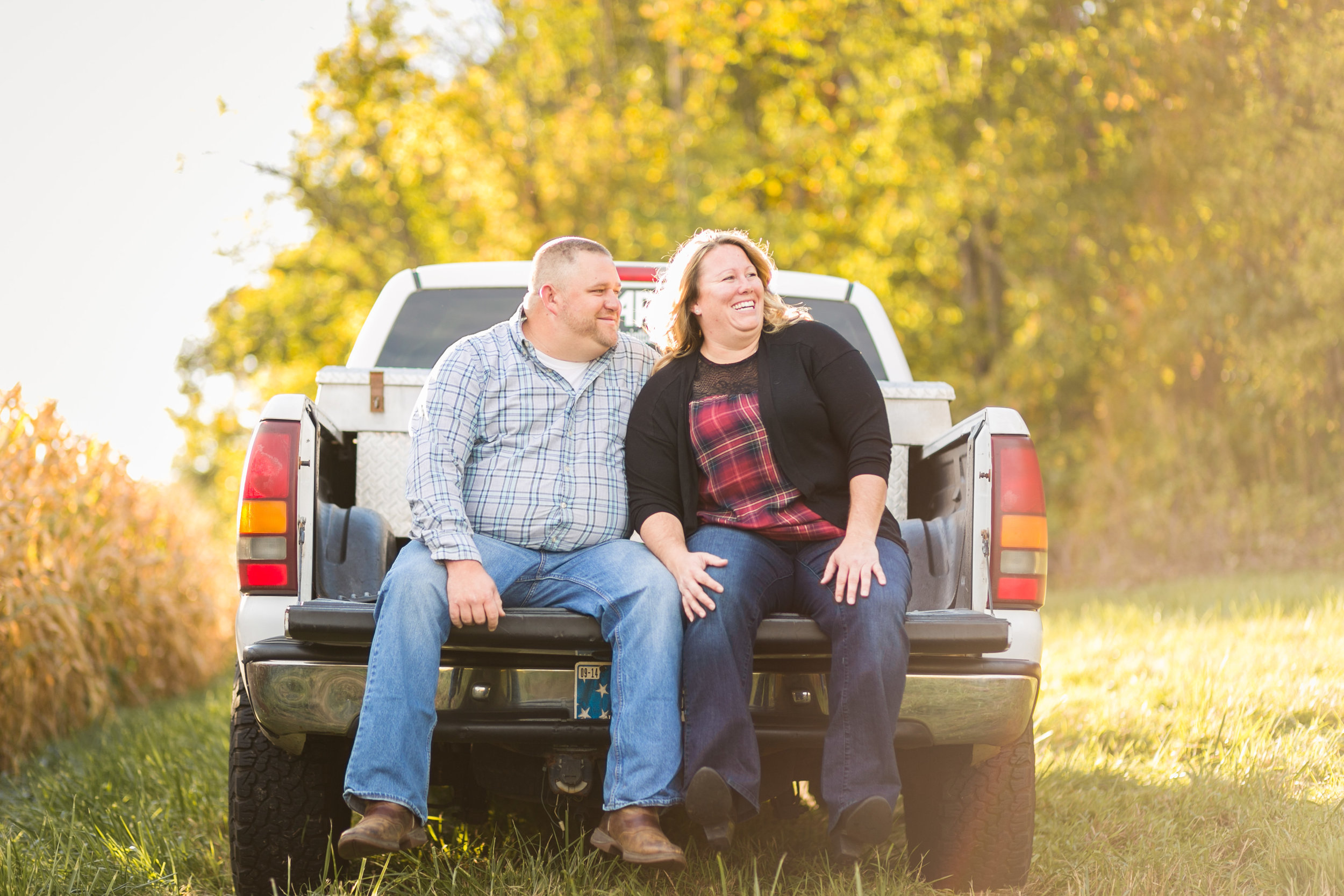 Mishawaka engagement pictures with truck on family farm