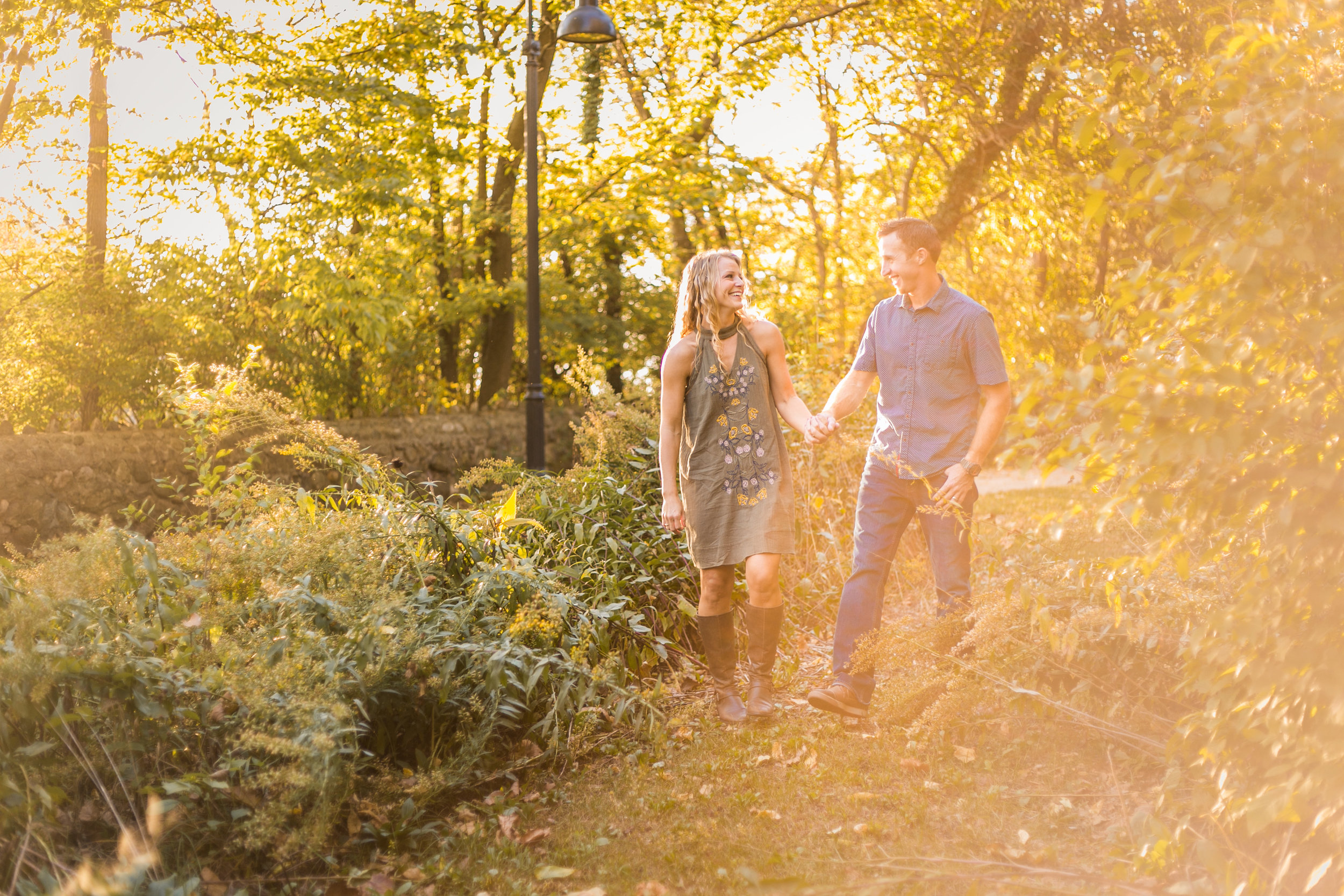 South Bend engagement pictures, olive green dress