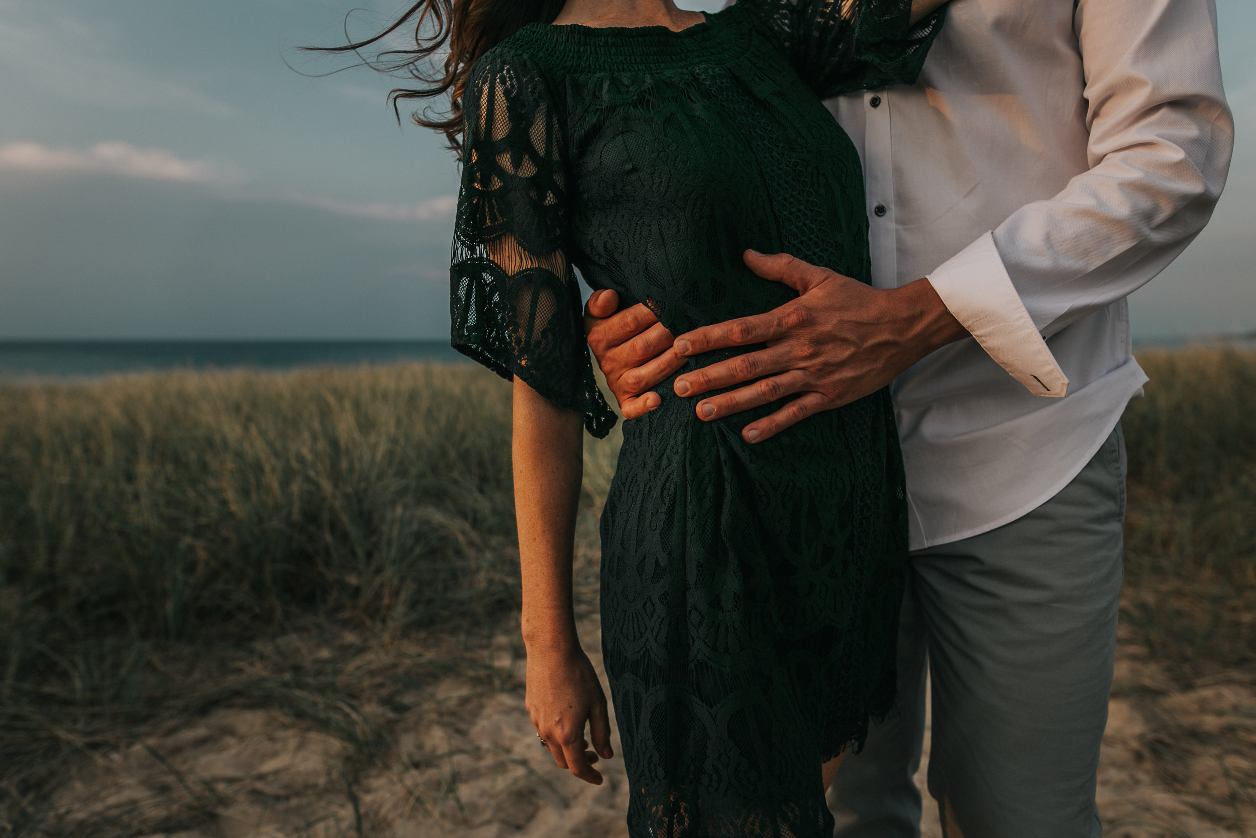 St. Joe, MI engagement pictures, beach grass, green dress, fine art