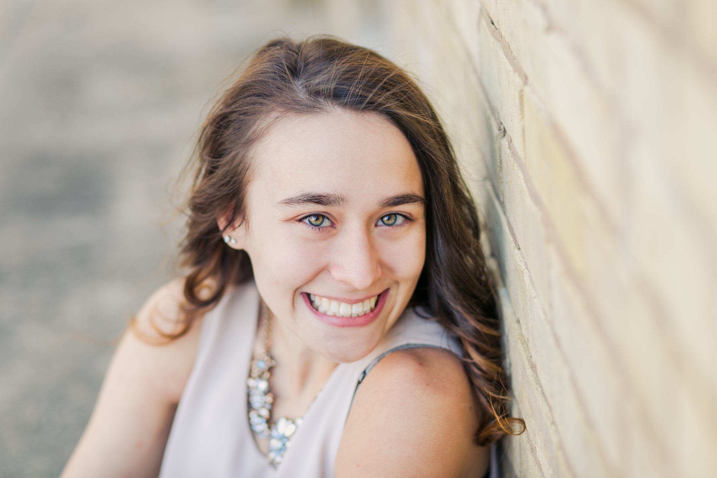 Senior Pictures at the University of Notre Dame, Brick Wall, Face Only