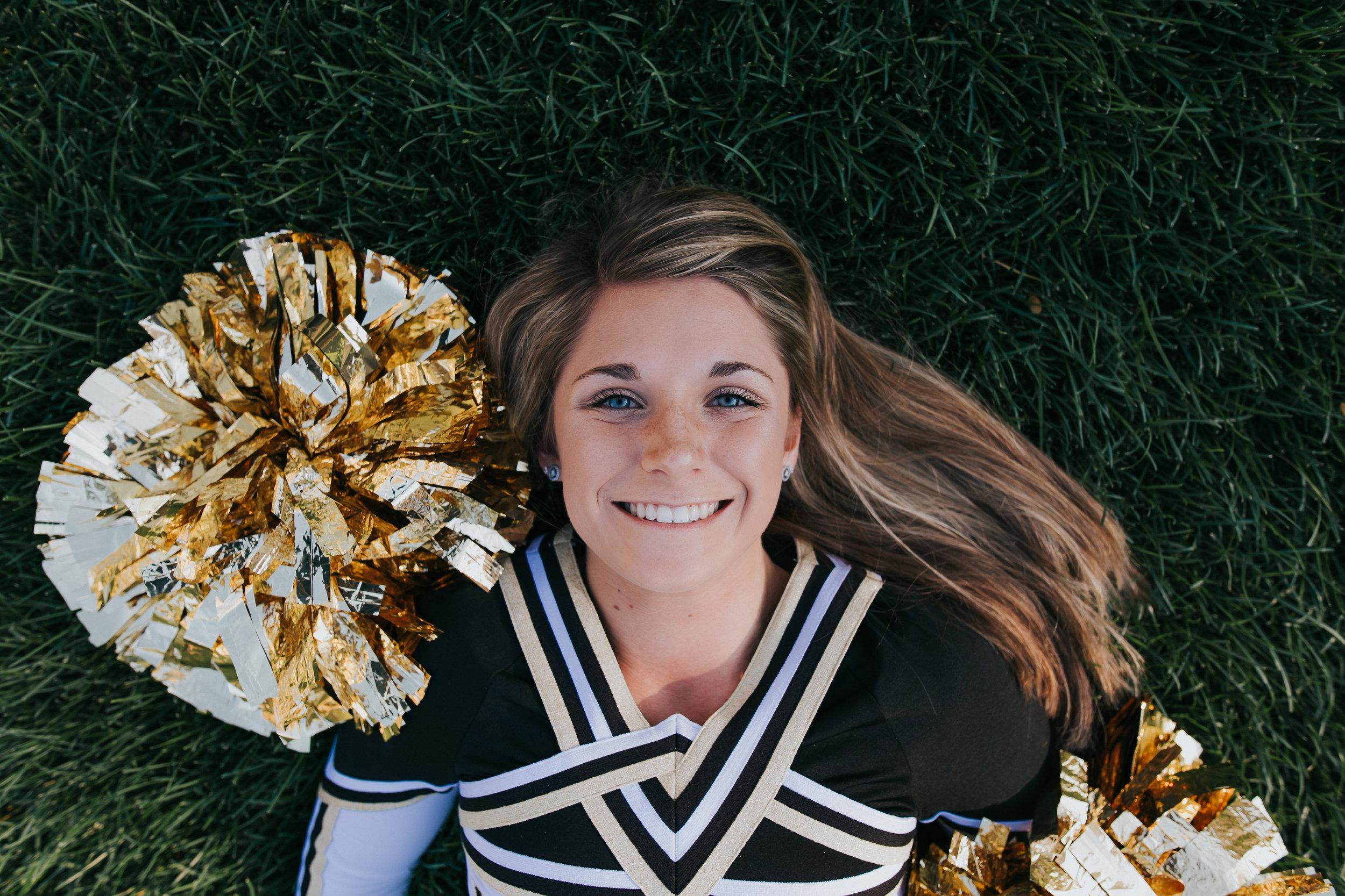 Senior Pictures at the University of Notre Dame, Cheerleader, Penn High School, Pom Poms