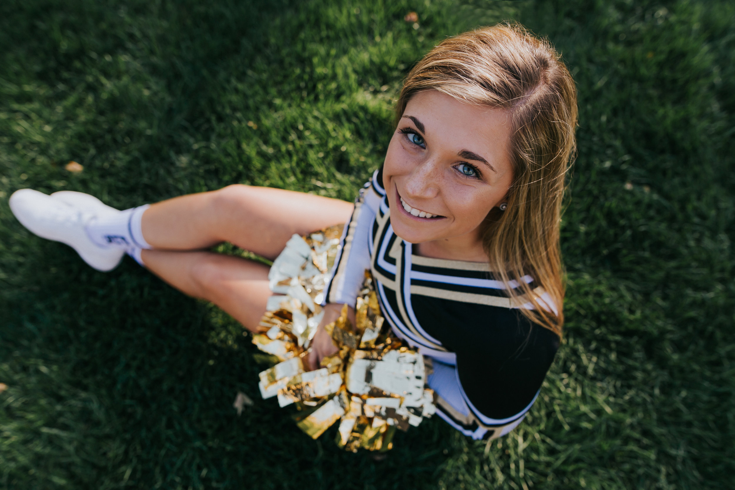 Senior Pictures at the University of Notre Dame, Cheerleader, Penn High School, Pom Poms, From Above