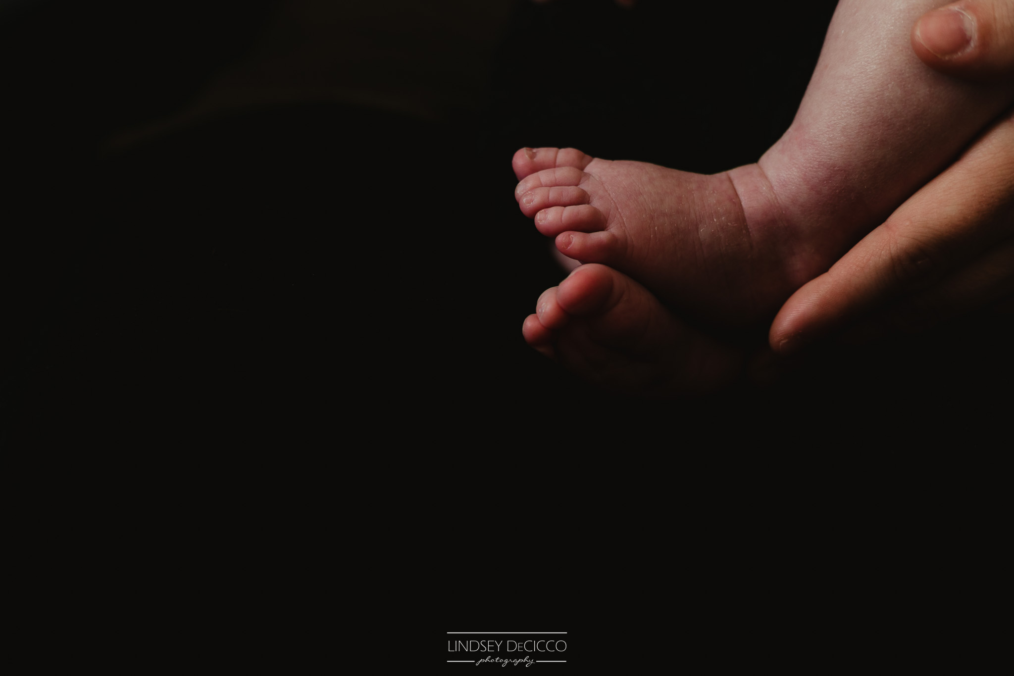 baby feet against black backdrop