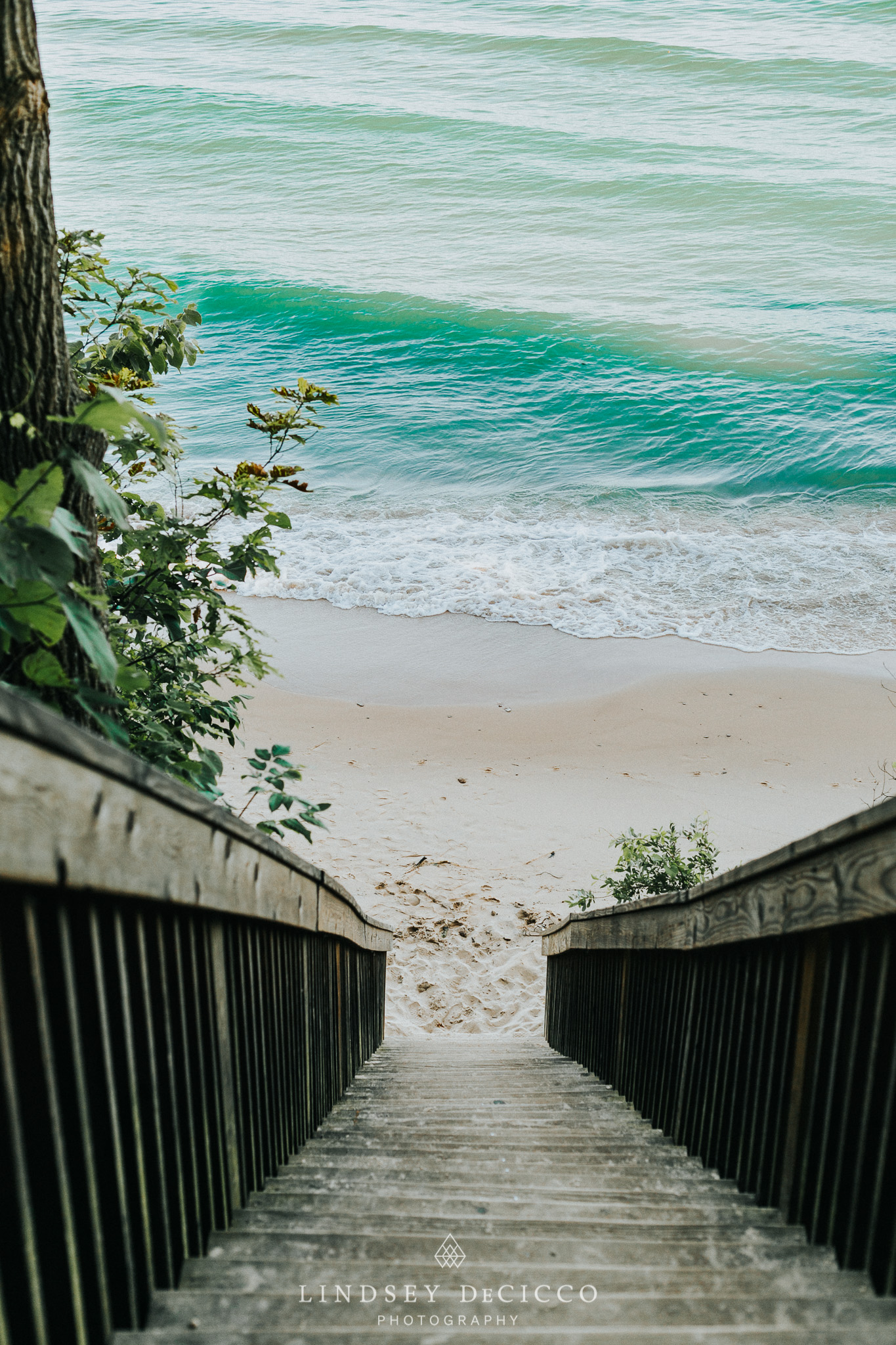 lake michigan stairs without wave