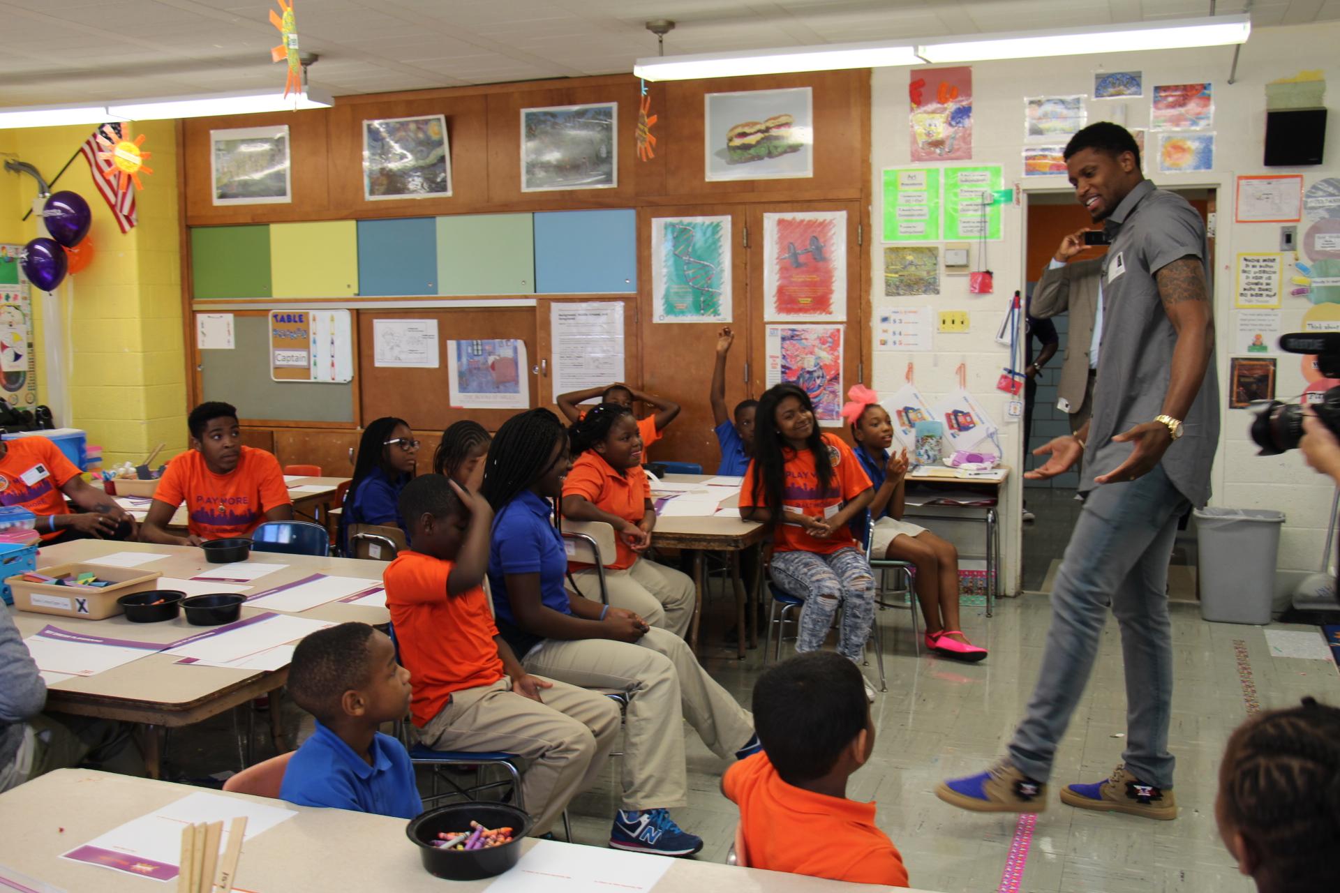 Baltimore native and NBA star Rudy Gay meets the Play More B'More interns