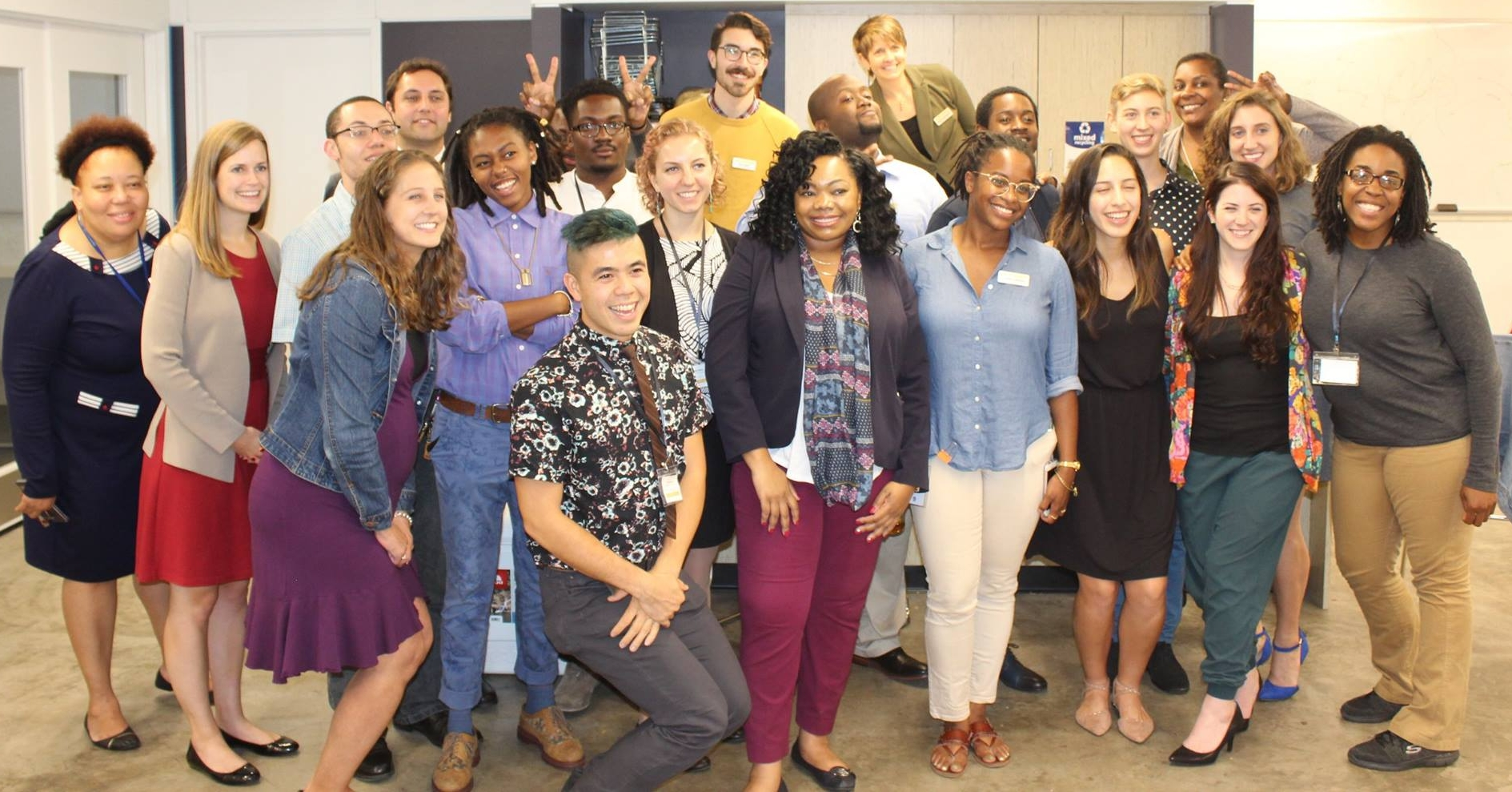 Current Fellows (Cohort 4, 2017-18) and staff at welcome dinner following orientation.