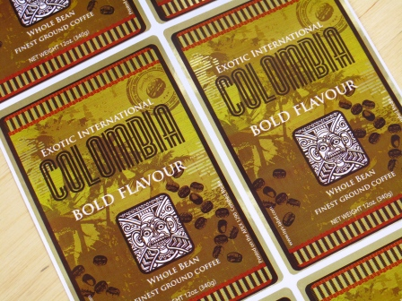Die cut Labels printed using gold paper based foil and white toner
