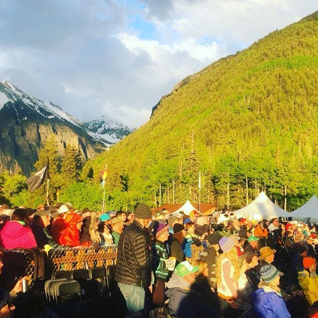 Rain, hail, snow, sun and thousands of free-spirits dancing!!! Telluride bluegrass is the land of @wildpreneurs . My heart is bursting with love and inspiration!! 4 days of music 🎵 and van life = wildpreneur bliss!! ❤️#entrepreneur #bluegrass #outoftheboxbusiness #musicentrepreneur #mountaininspiration #freespirits #vanlife #love
