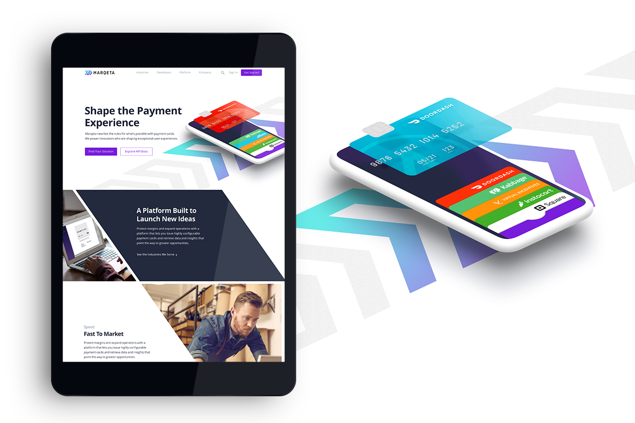 Marqeta  payment platform marketing website / Art Direction + Design