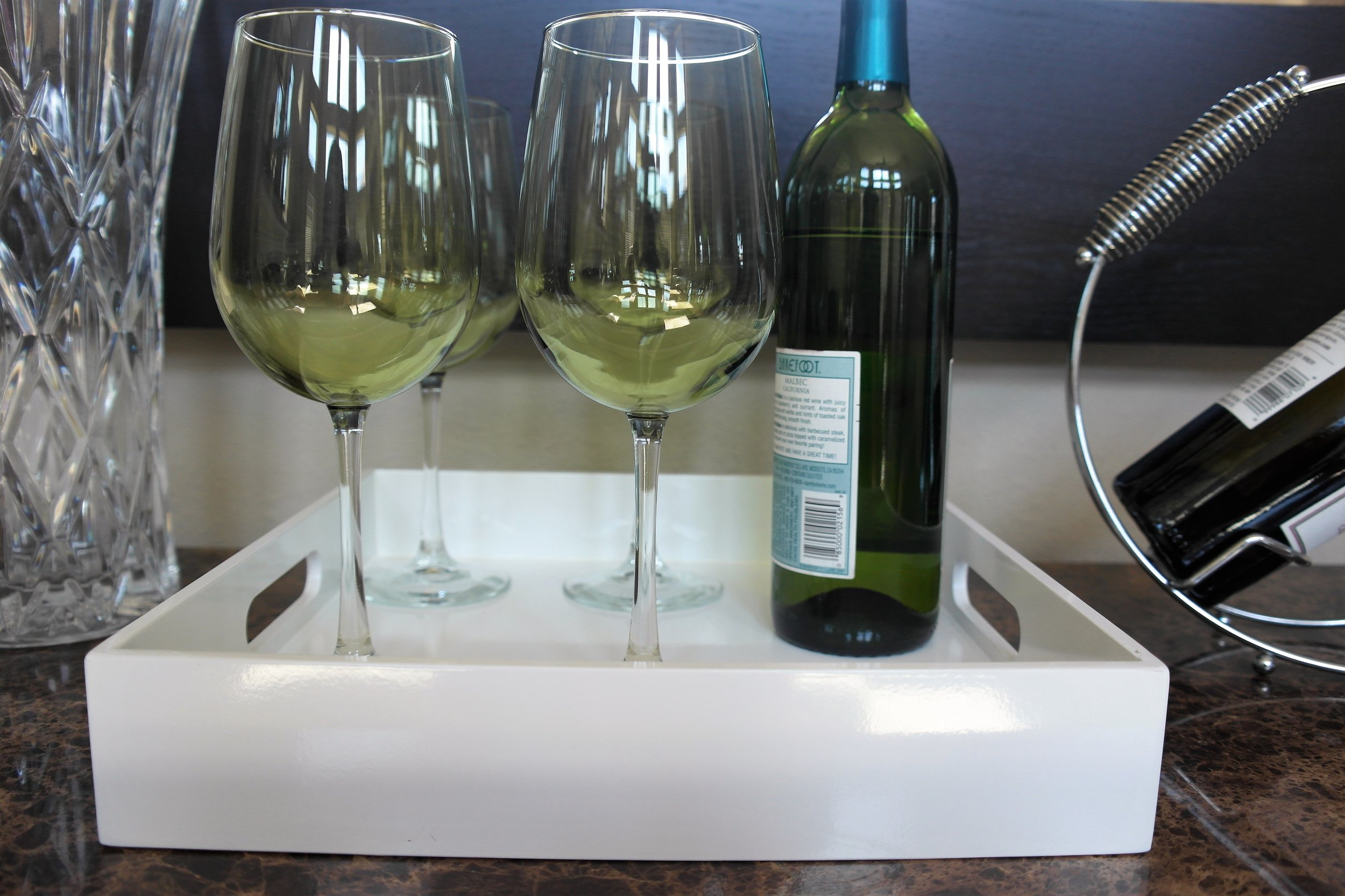 West Elm White Lacquer Tray    Here        | Olive Tint Wine glasses similar    Here