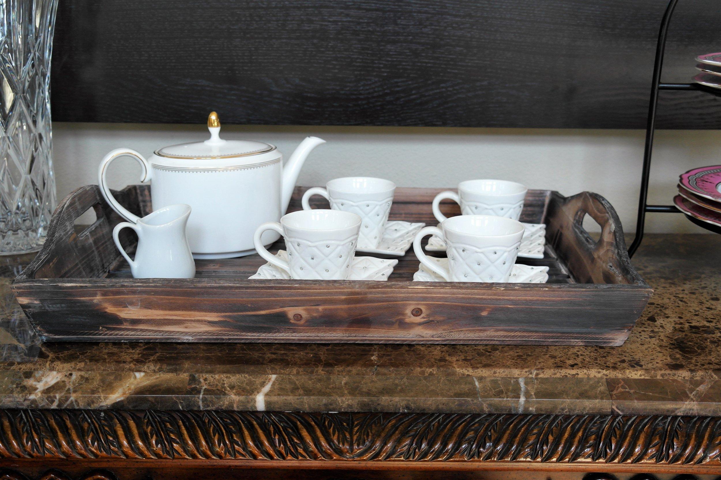Rustic Tray similar    Here      Vera Wang Teapot        Here