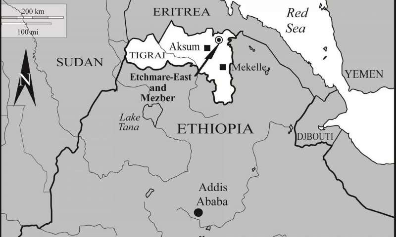 Location of the Mezber archaeological site, northern Ethiopia, where chicken remains excavated. Credit: H. Woldekiros and A. C. D'Andrea in the  International Journal of Osteoarchaeology .
