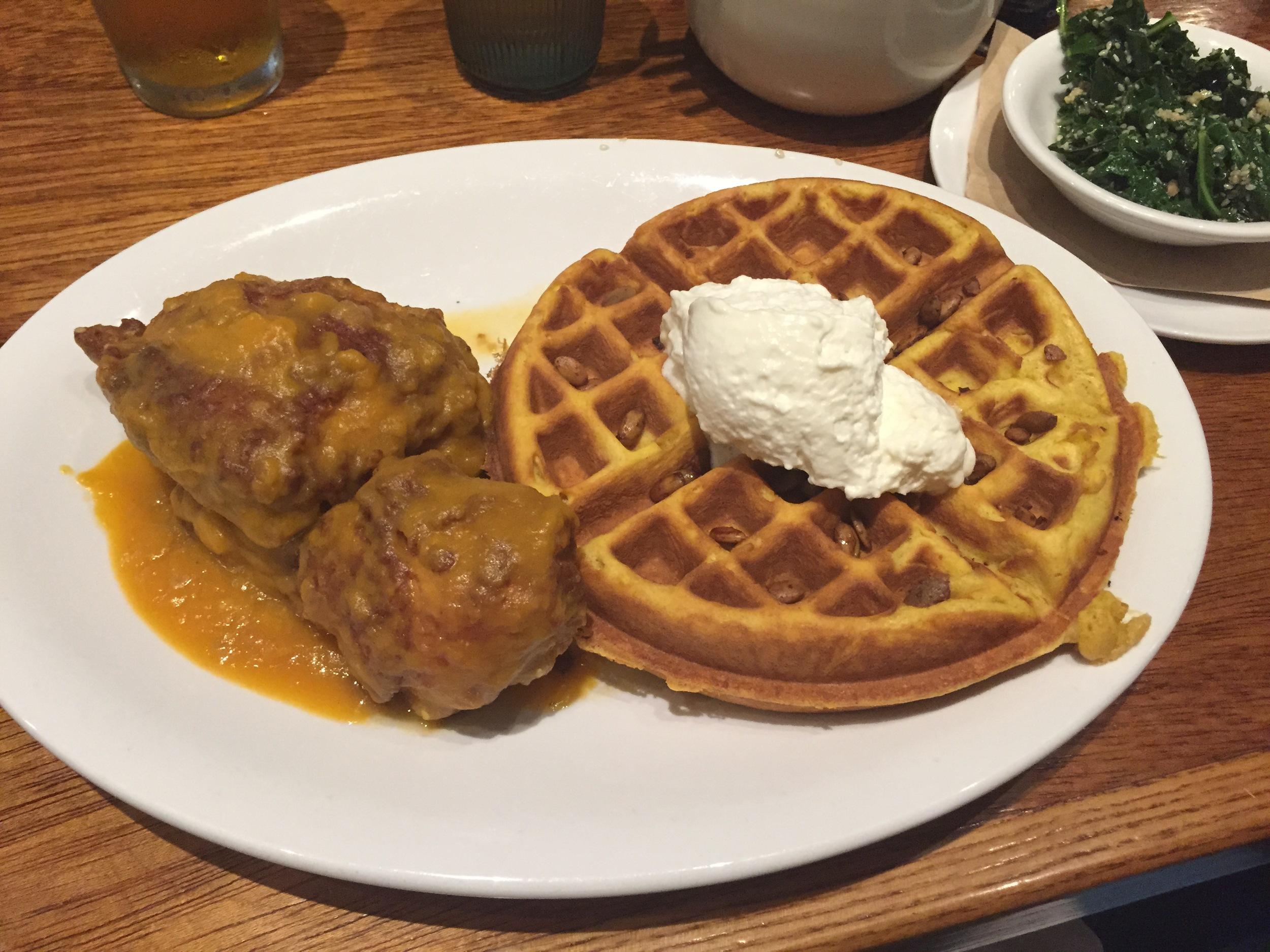Korean Fried Chicken/Pumpkin Waffle/Whipped Cream