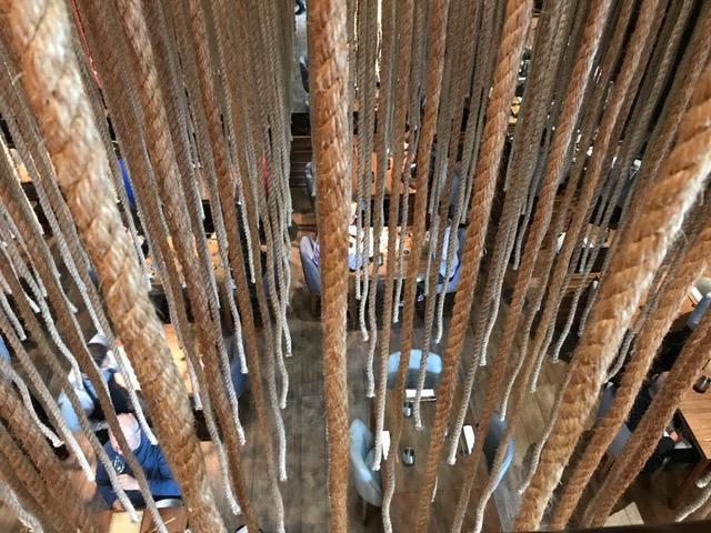 Ropes hanging down into the dining room, viewed from above
