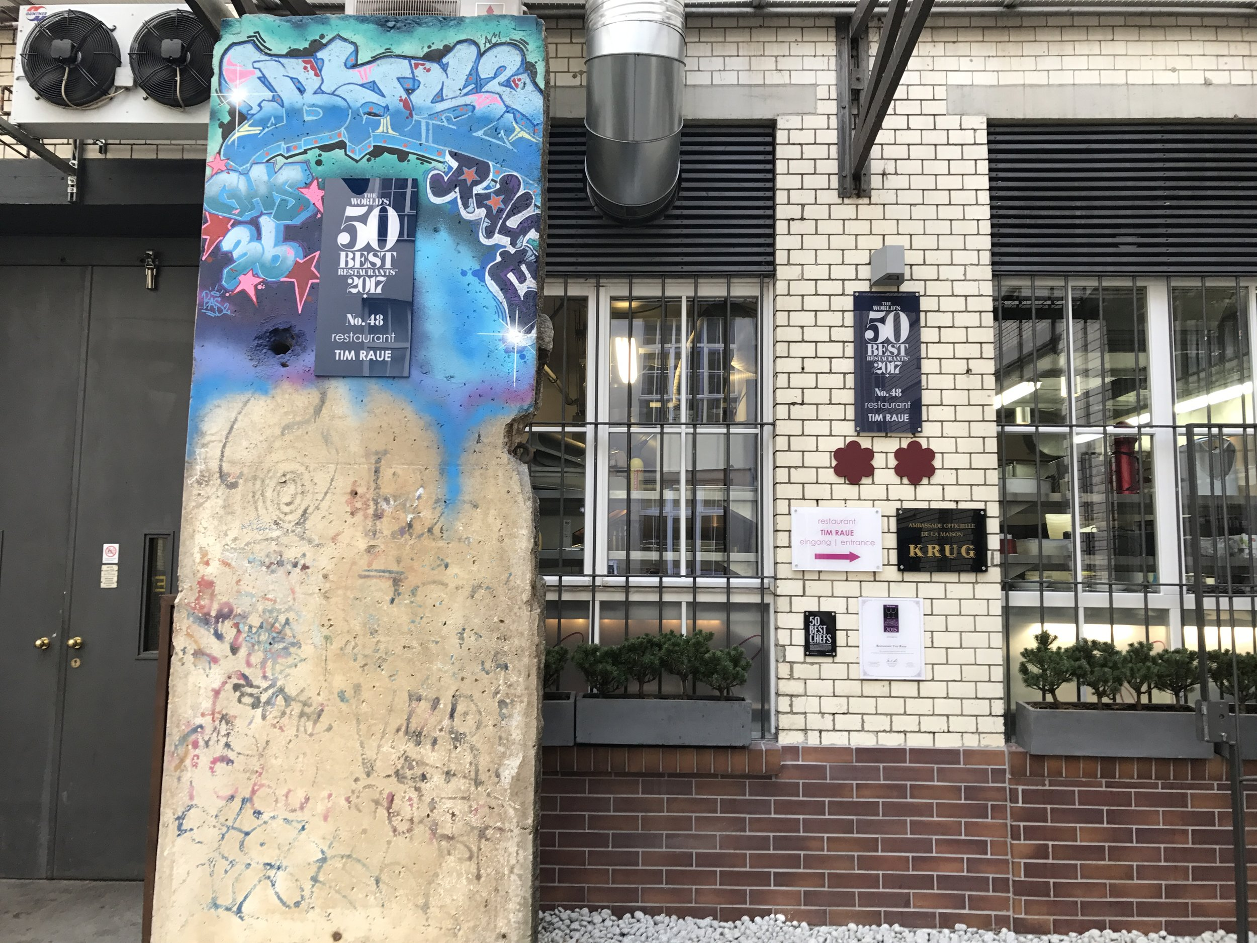 A block of the Berlin Wall is part of the decor