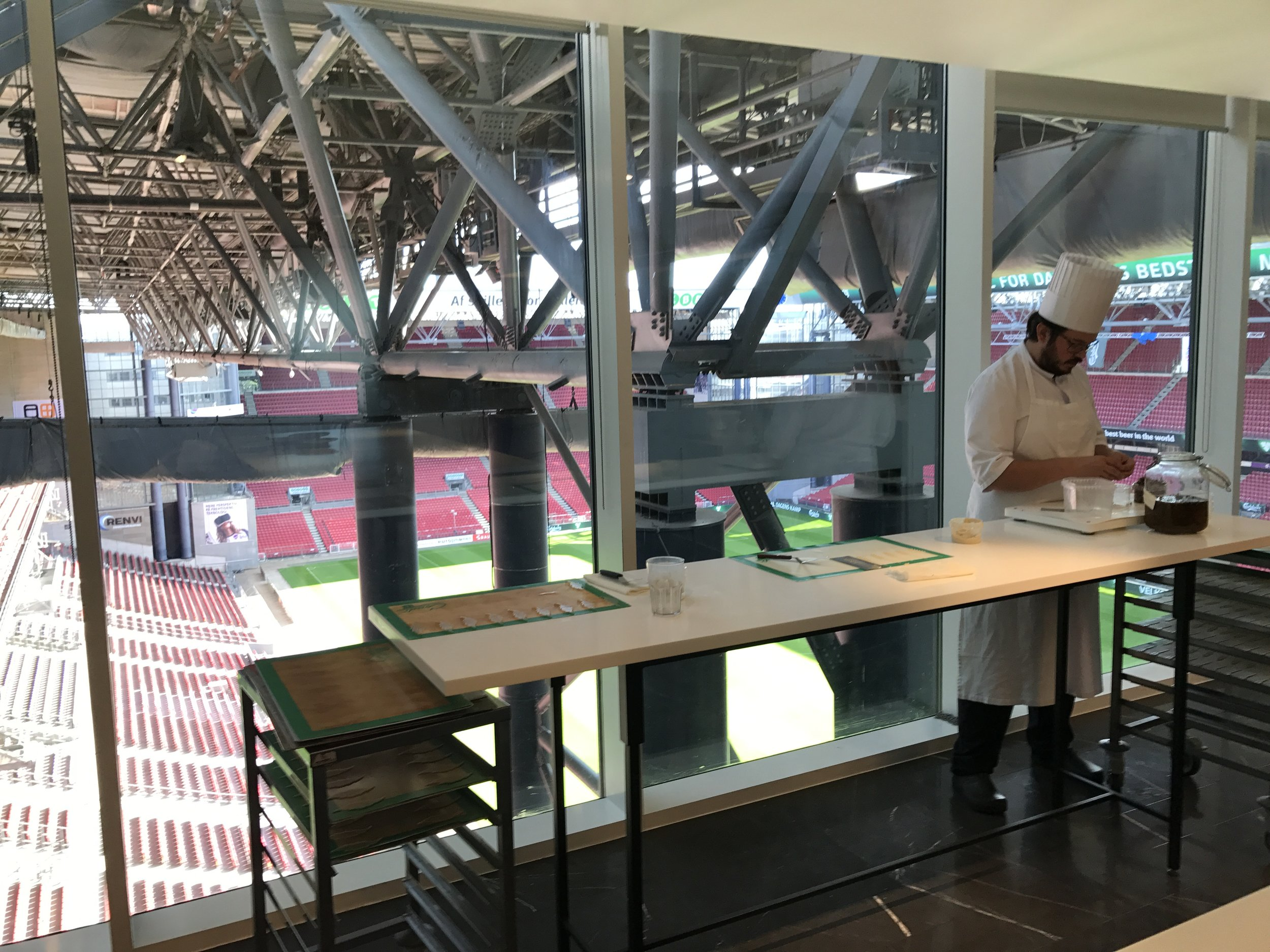 The kitchen overlooks the stadium-- pretty cool on match day!