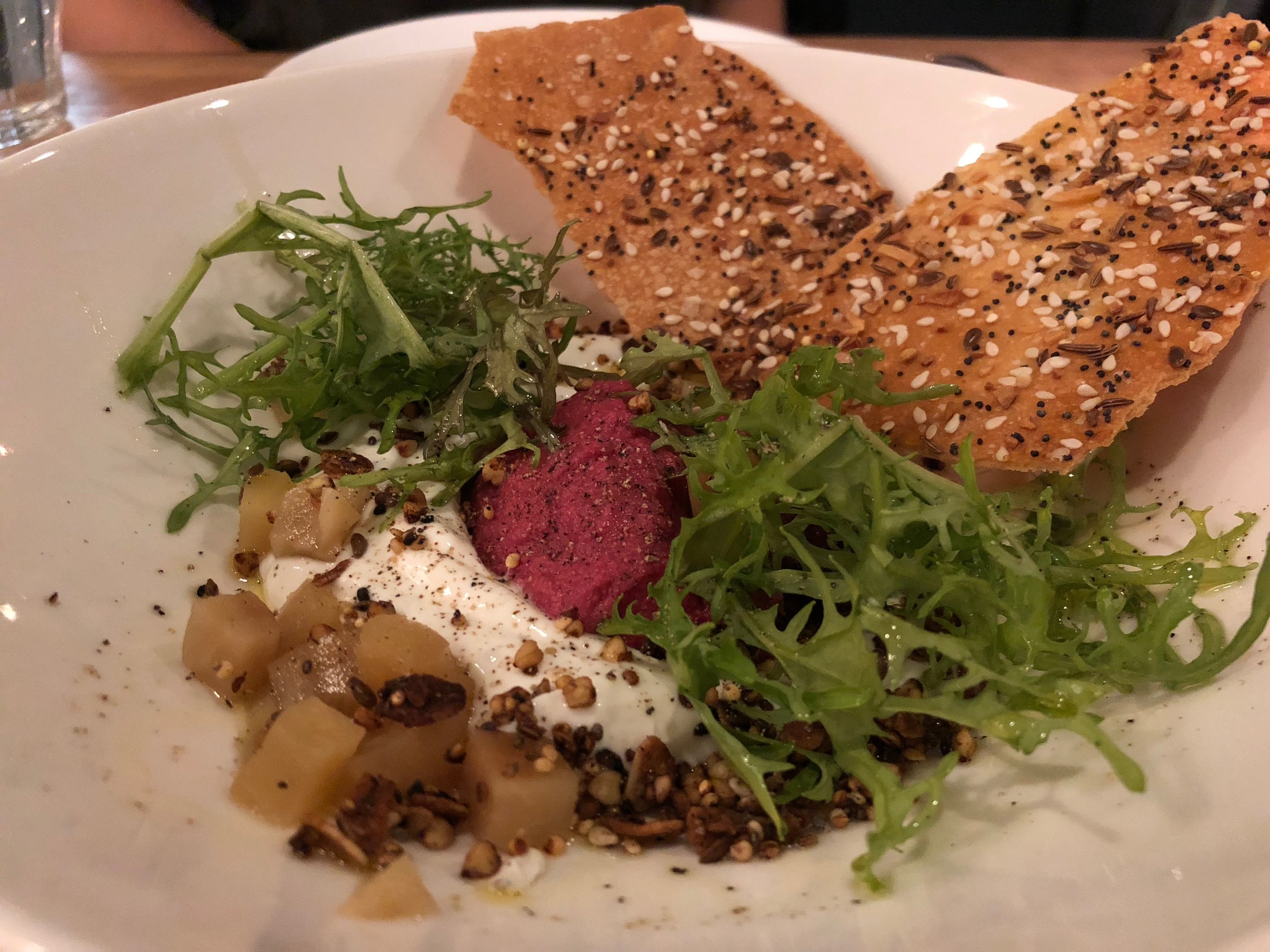 Labneh - beet hummus, millet crunch, everything crackerWe loved this dish. Our only complaint was that we needed maybe seven more crackers? Kthanxbai.