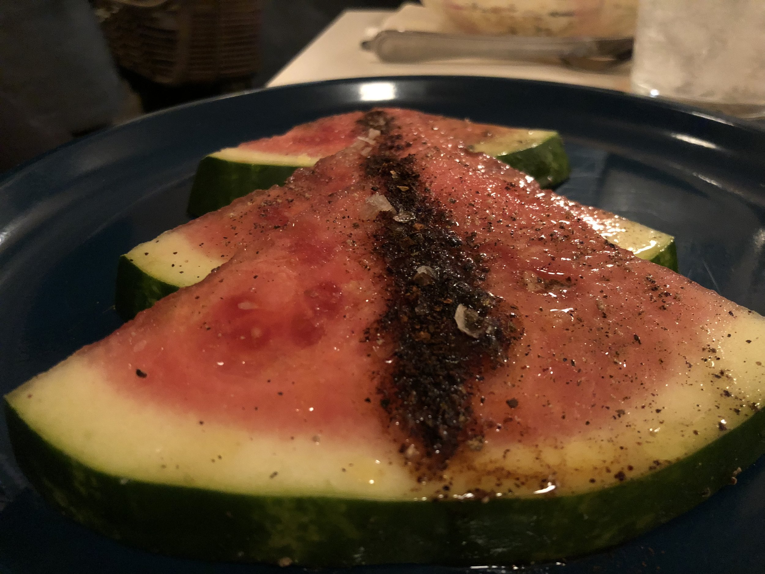 Watermelon  - Al pastor, sea salt Fine--watermelon. Nothing special happening.