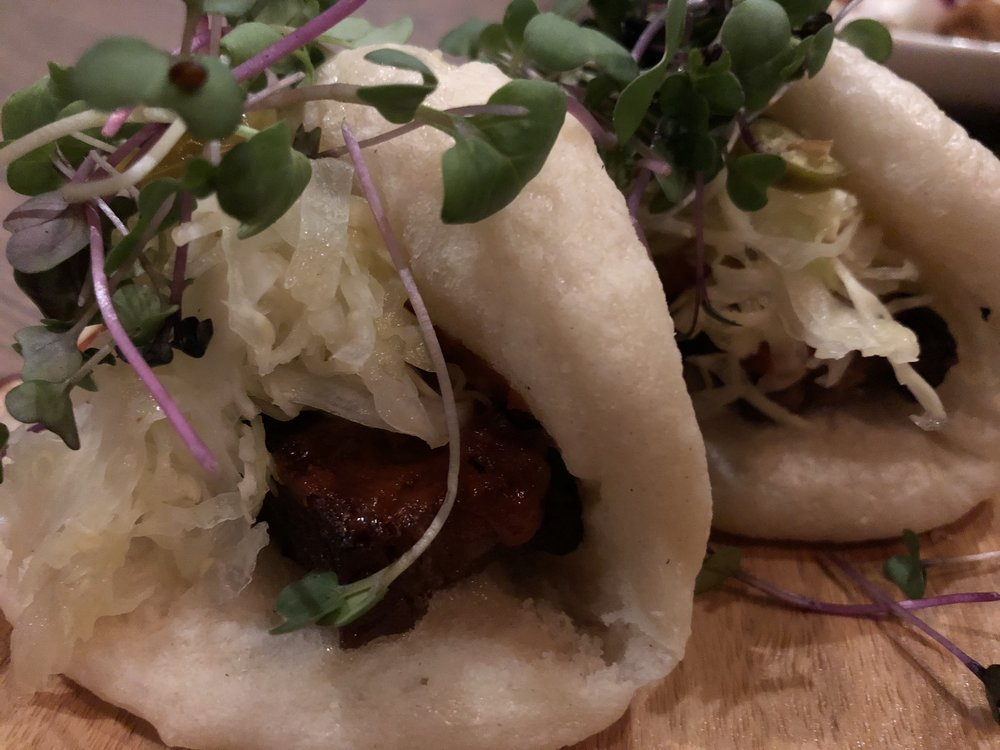 Scratch Buns - Sweet miso Heritage pork belly, shaved cabbage, pickled chilisLove, love, love.